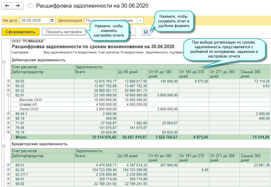 Инвентаризация расчетов и расшифровка задолженности в 1С БП