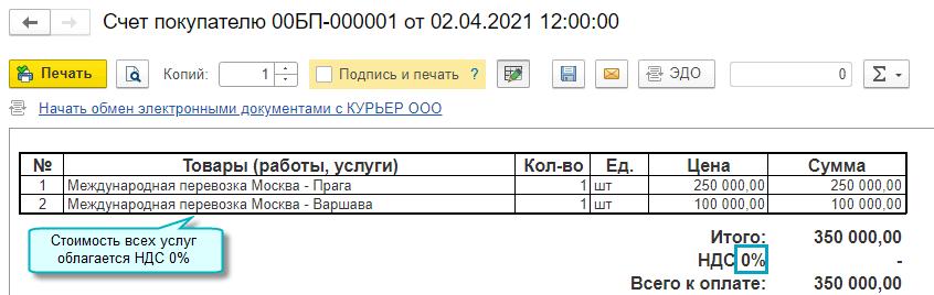 Ставка НДС в печатных формах счетов в 1С БП