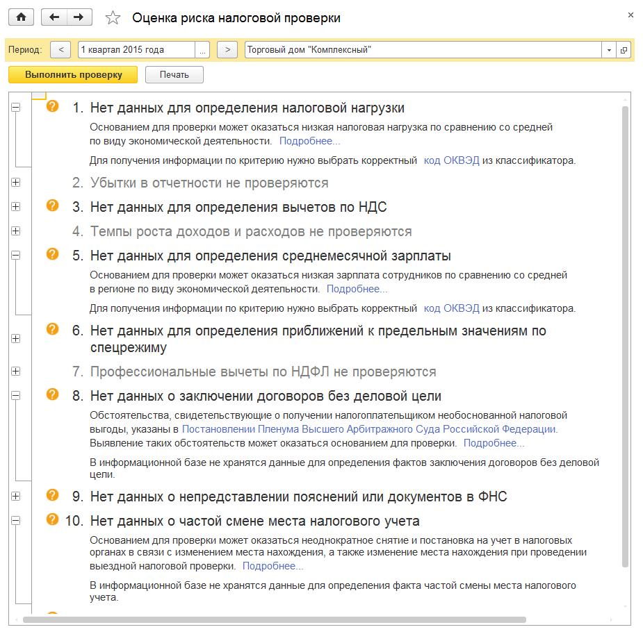 Оценка риска налоговой проверки в 1С Комплексная автоматизация