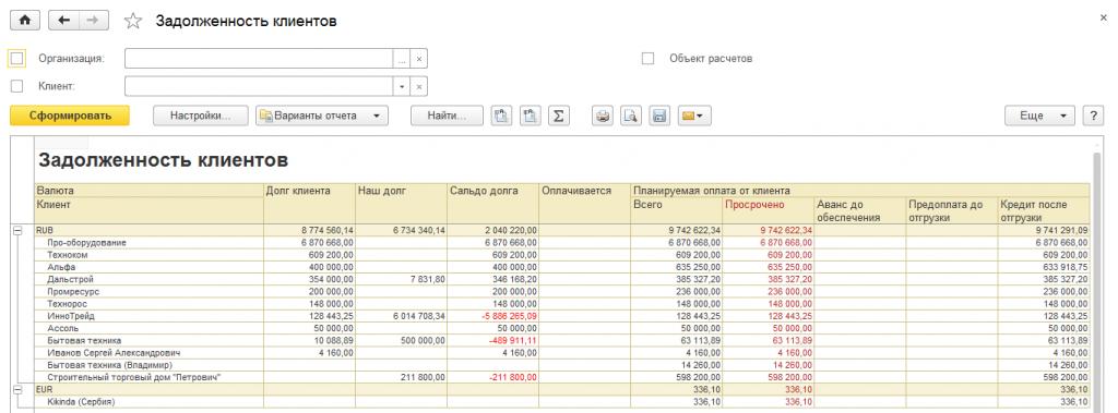 Задолженность клиентов в 1С Управление торговлей 8