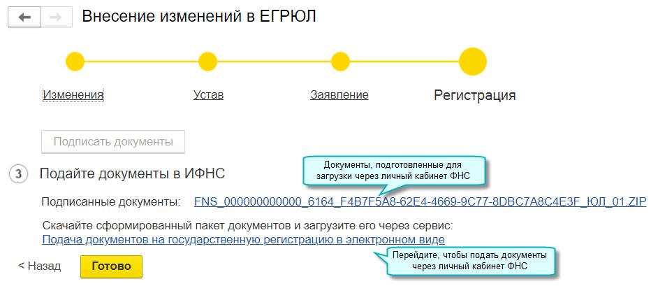 Подготовка документов для регистрации изменений в ЕГРЮЛ, ЕГРИП через личный кабинет ФНС в 1С БП