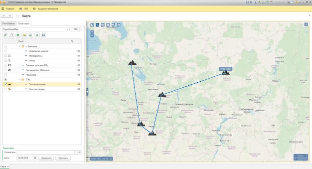 Инструменты в 1С GIS Управление пространственными данными