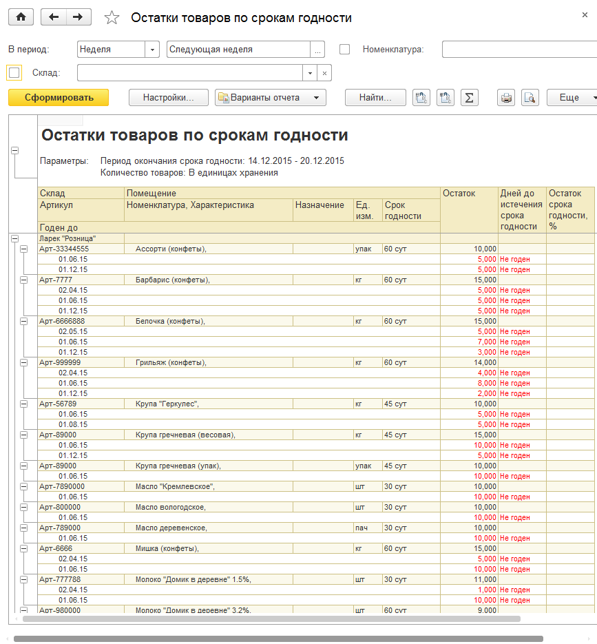 Остатки товаров по срокам годности в 1С Управление торговлей 8