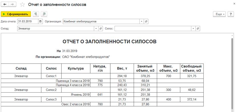 Отчет о заполненности силосов в 1С Бухгалтерия элеватора и комбикормового завода