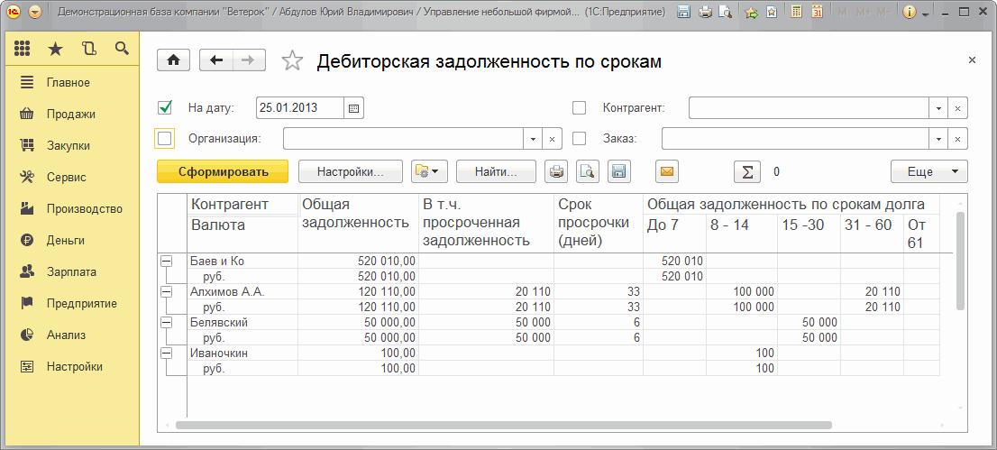 Дебиторская задолженность по срокам в 1С