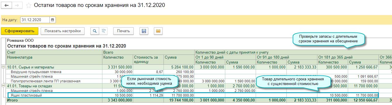 Остатки запасов по срокам хранения в 1С Бухгалтерии НКО