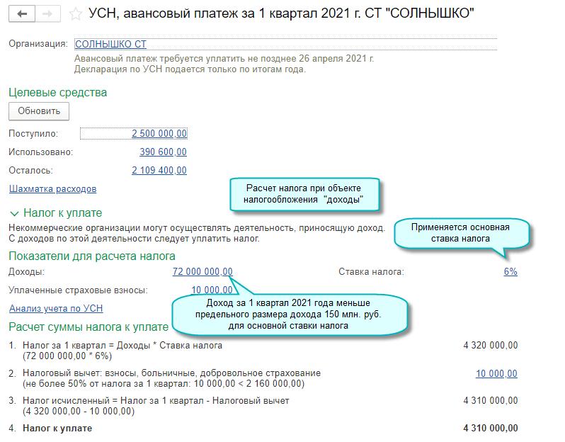 Предельный доход для основной ставки УСН в 1С Садовод