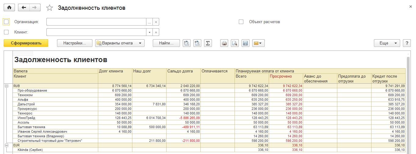 Задолженность клиентов в 1С Комплексная автоматизация