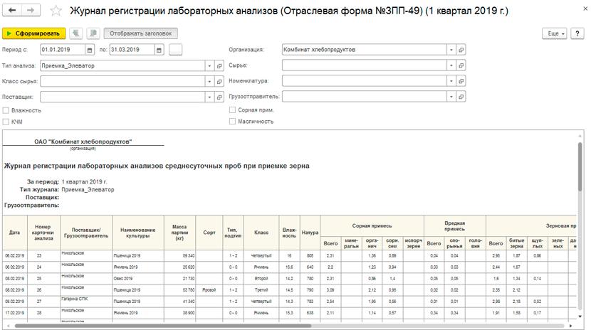 ЗПП-49 в 1С Бухгалтерия элеватора и комбикормового завода