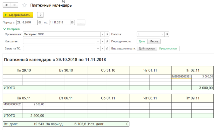 Платежный календарь в 1С Управление Автотранспортом. ПРОФ