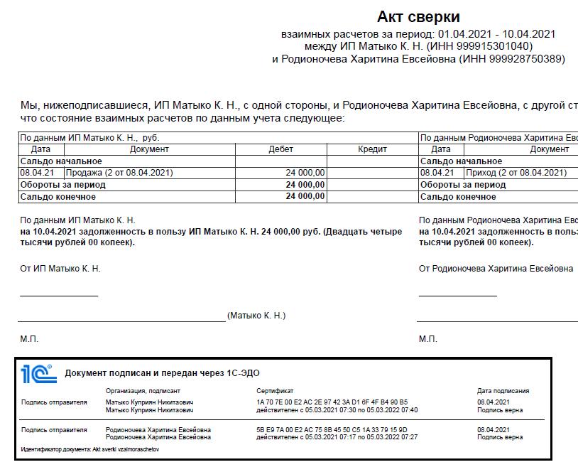 Представление штампов электронных подписей в 1С Бухгалтерия НКО