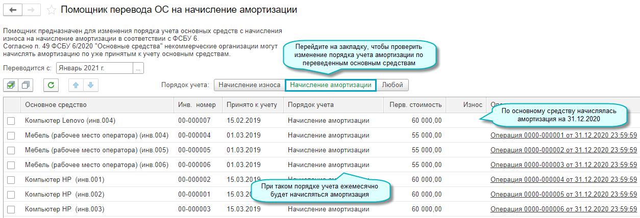 Амортизация основных средств в 1С Бухгалтерии НКО