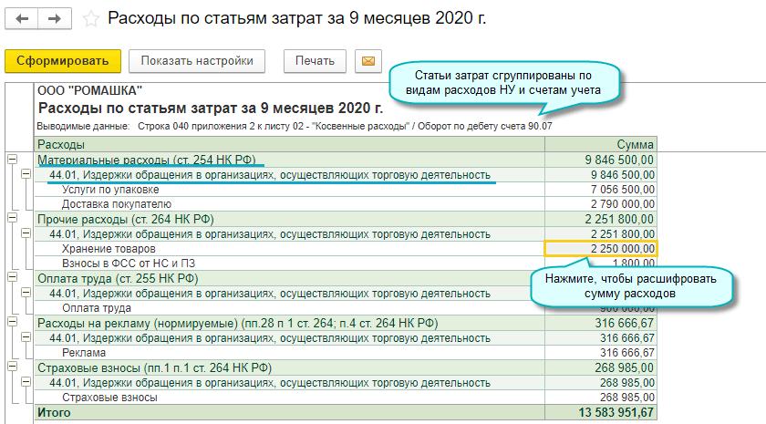 Расшифровка расходов в декларации по налогу на прибыль в 1С Бухгалтерии НКО