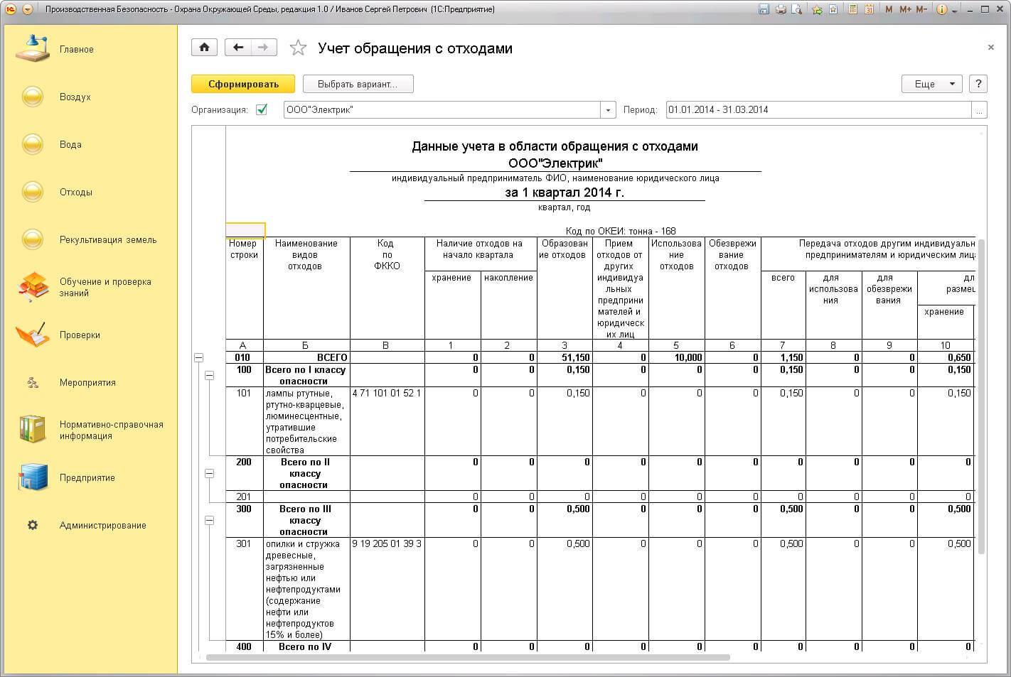 Учет обращения с отходами в 1С Производственная безопасность. Охрана окружающей среды
