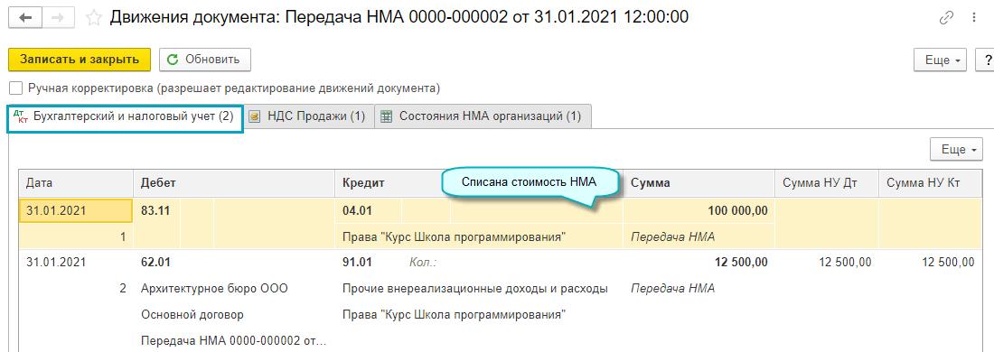 Передача НМА в 1С Бухгалтерии НКО