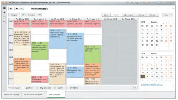 Окно «Мой календарь» в 1С Документооборот 8