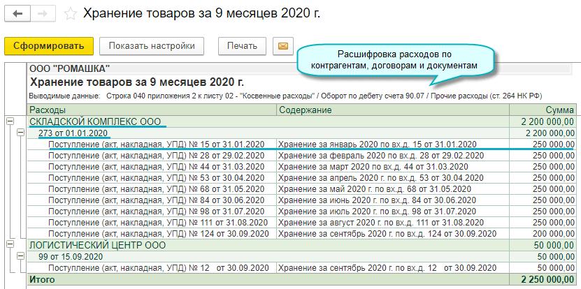 Расшифровка расходов до первичного документа в декларации по налогу на прибыль в 1С Садовод