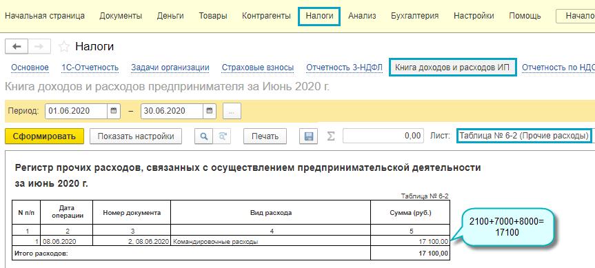 Учет стоимости билетов в расходах ИП для НДФЛ в 1С Бухгалтерия предприятия