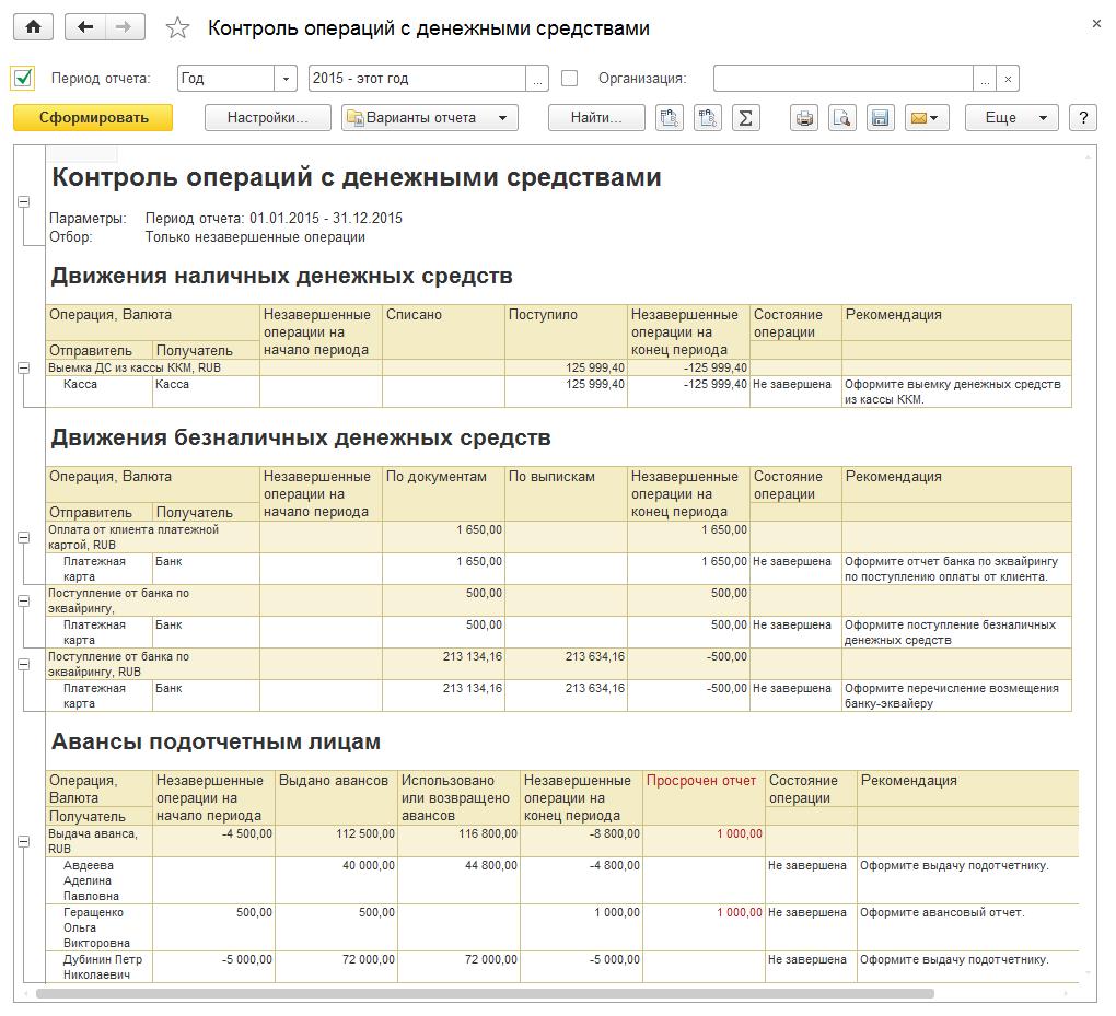Контроль операций с денежными средствами в 1С Комплексная автоматизация